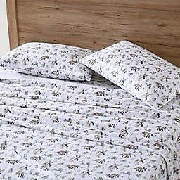 Eddie Bauer® Woodland Friends Flannel Sheet Set in White/Blue