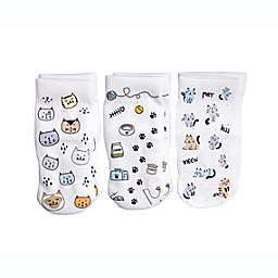 Squid Socks® 3-Pack Meow Socks in White/Multi