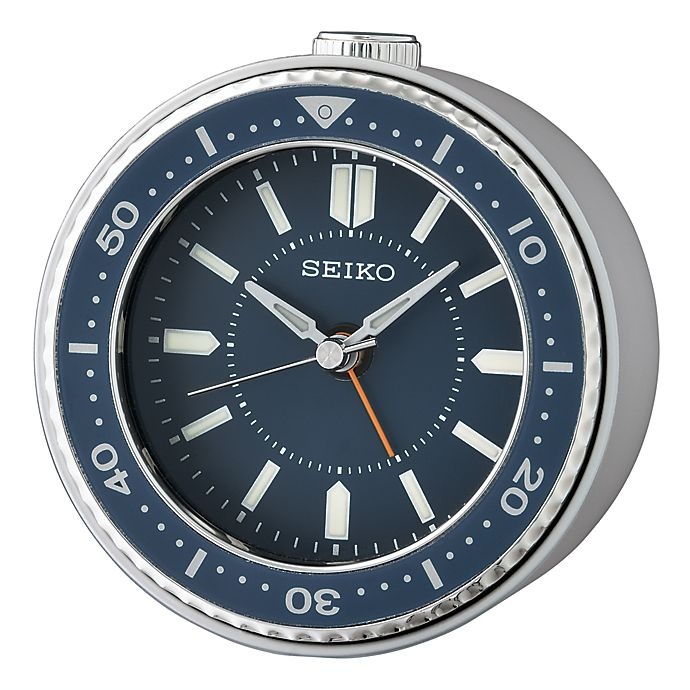 Alternate image 1 for Seiko Bedside Alarm Clock in Blue/Silver