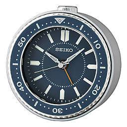 Seiko Bedside Alarm Clock in Blue/Silver