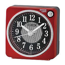 Seiko Square Alarm Clock in Red/Black