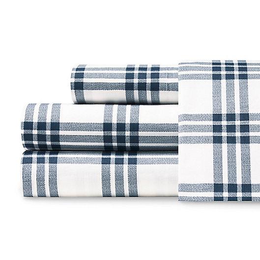 Alternate image 1 for Eddie Bauer® Basic Plaid Twin XL Sheet Set in Navy