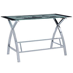 Powell Gates World Map Computer Desk in Silver