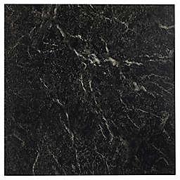 Achim Sterling Marble 20-Pack 12-Inch Vinyl Self-Adhesive Floor Tiles in Black w/ White Veins