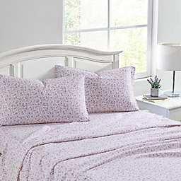 Laura Ashley® Paisley Prance Flannel Sheet Set in Rose