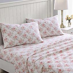 Laura Ashley® Lisalee Flannel Queen Sheet Set in Pink