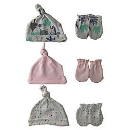 Sterling Baby 9-Piece Bunny Hat and Mitten Set in Grey/Pink