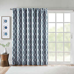SunSmart Blakesly 84-Inch Printed Ikat Blackout Patio Curtain in Navy
