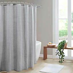 Clean Spaces Alder Texture Striped Woven Shower Curtain in Grey
