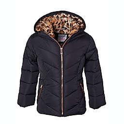Kensie Girl Size 4T Cheetah Lined Puffer Jacket in Black