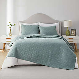VCNY Home Ring Textured Cotton 3-Piece King Quilt Set in Jade