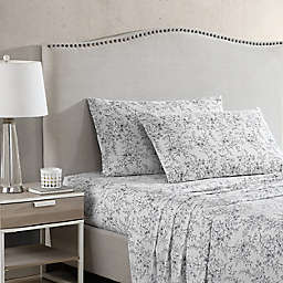 Stone Cottage Hawley Floral Cotton Percale Queen Sheet Set in White/Black