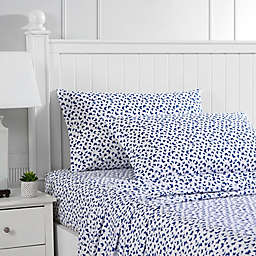 Poppy & Fritz® Butterfly Holly Cotton Percale Twin XL Sheet Set in White/Blue