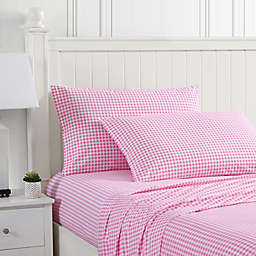 Poppy & Fritz® Gingham Plaid Cotton Percale Twin XL Sheet Set in Pink
