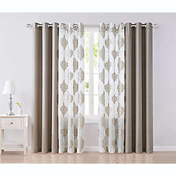 VCNY Home Miranda Damask Sheer 84-Inch Grommet Window Curtain Panels in White/Taupe (Set of 4)