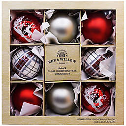 Bee & Willow™ Classic Glass Christmas Ornaments in Red/Silver (Set of 8)