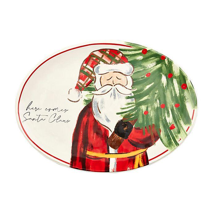 Alternate image 1 for Mud Pie® 14-Inch Here Comes Santa Christmas Platter