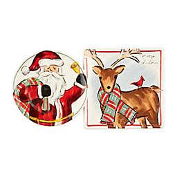 Mud Pie® 2-Piece Santa Deer Christmas Platter Set