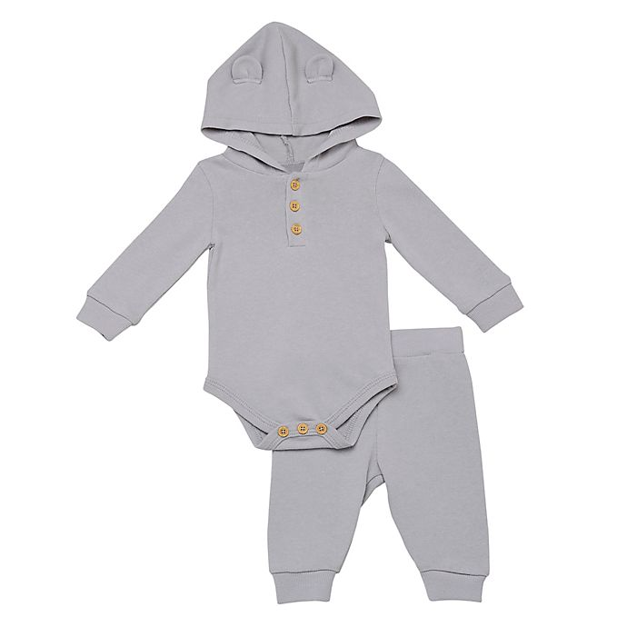 Alternate image 1 for Baby Starters® 2-Piece Henley Hooded Bodysuit and Pant in Grey