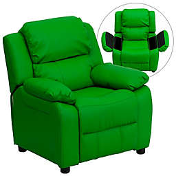 Flash Furniture Vinyl Kids Recliner with Storage Arms in Green