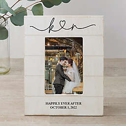Drawn Together By Love Personalized Wedding Vertical 4-Inch x 6-Inch Shiplap Frame