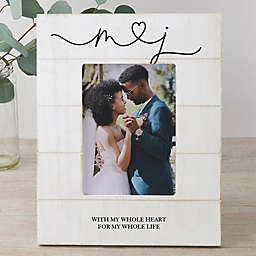Drawn Together By Love Personalized Wedding Vertical 5-Inch x 7-Inch Shiplap Frame