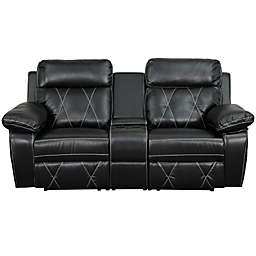 Flash Furniture 78-Inch Leather 2-Seat Reclining Theater Set in Black
