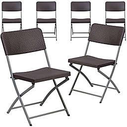 Flash Furniture Rattan Plastic Folding Chairs in Brown (Set of 6)