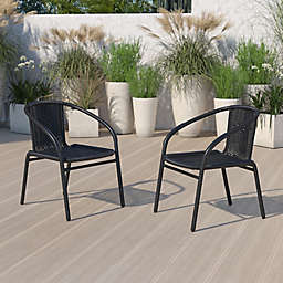 Flash Furniture Rattan Stackable Patio Arm Chairs (Set of 2)