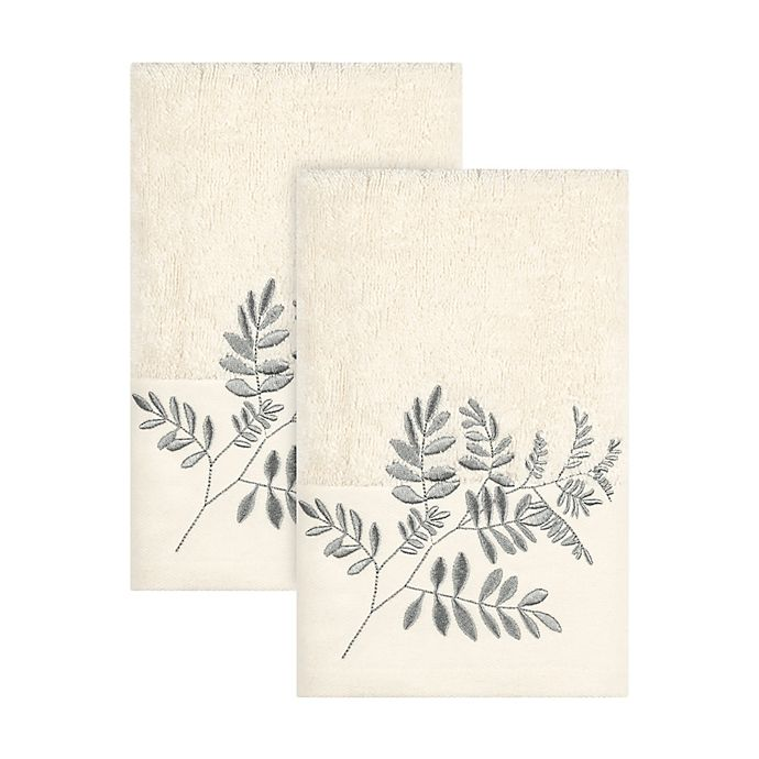Alternate image 1 for Bee & Willow™ Embroidered Stamped Leaves Hand Towels in Natural (Set of 2)
