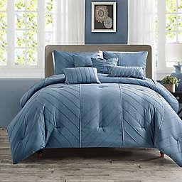 Elight Home Eurybia 7-Piece Queen Comforter Set in Blue