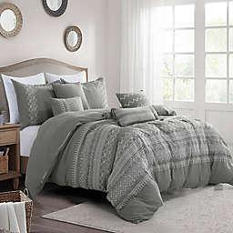 Fama Luxury 7-Piece Queen Comforter Set in Grey