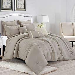 Liadan Luxury 8-Piece Queen Comforter Set in Taupe