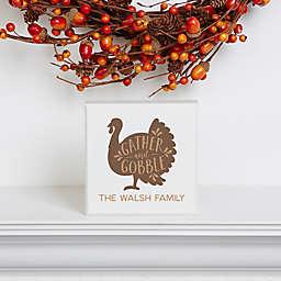 Gather andGobble Thanksgiving Single Shelf Block in Beige