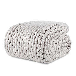 Laura Hill Felted Chunky Knit Throw Blanket in Light Grey