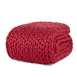 Laura Hill Felted Chunky Knit Throw Blanket in Red