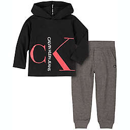 Calvin Klein® 2-Piece Logo Hooded Jogger Set in Black/Heather Red