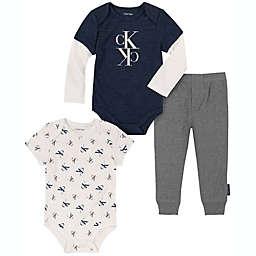 Calvin Klein® Size 12M 3-Piece Bodysuit and Pant Set in Navy/White