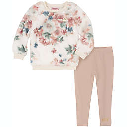 Juicy Couture® Size 3-6M 2-Piece Faux Fur Flower Top and Pant Set in White