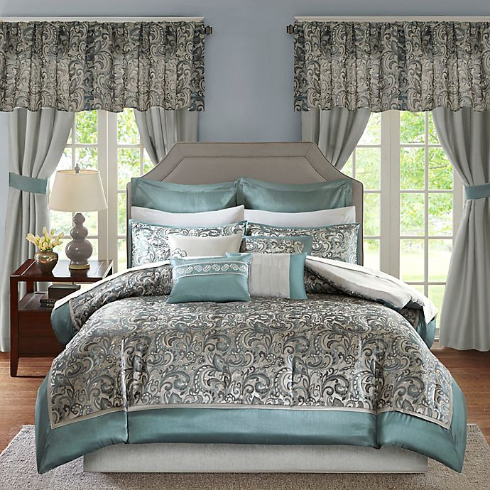 Alternate image 1 for Madison Park Brystol 24-Piece Queen Comforter Set in Teal