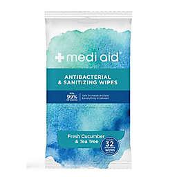 medi aid® 32-Count Antibacterial & Sanitizing Wipes in Fresh Cucumber/Tea Tree