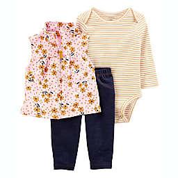 carter's® 3-Piece Flower Little Vest Set in Blush