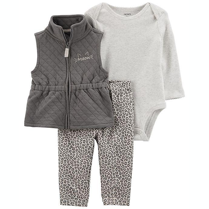 Alternate image 1 for carter's® 3-Piece Cat Little Vest Set in Grey