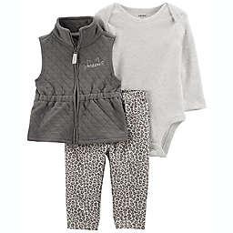 carter's® 3-Piece Cat Little Vest Set in Grey