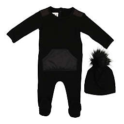 HannaKay, by Maniere 2-Piece Puff Pocket Footie and Faux Fur Pom Hat Set in Black