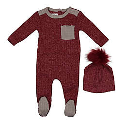 HannaKay, By Maniere Newborn 2-Piece Marled Footie and Faux Fur Pom Hat in Burgundy