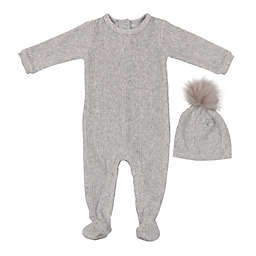 HannaKay, By Maniere 2-Piece Ribbed Velour Footie and Faux Fur Pom Hat in Grey