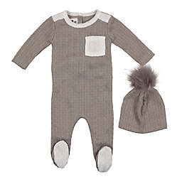 HannaKay, By Maniere 2-Piece Marled Footie and Faux Fur Pom Hat
