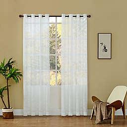 Lyndale Ivy Grommet Sheer Window Curtain Panel in White (Single)