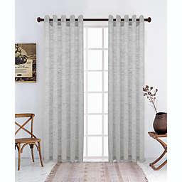 Lyndale Jenner Grommet Sheer Window Curtain Panel in Grey (Single)